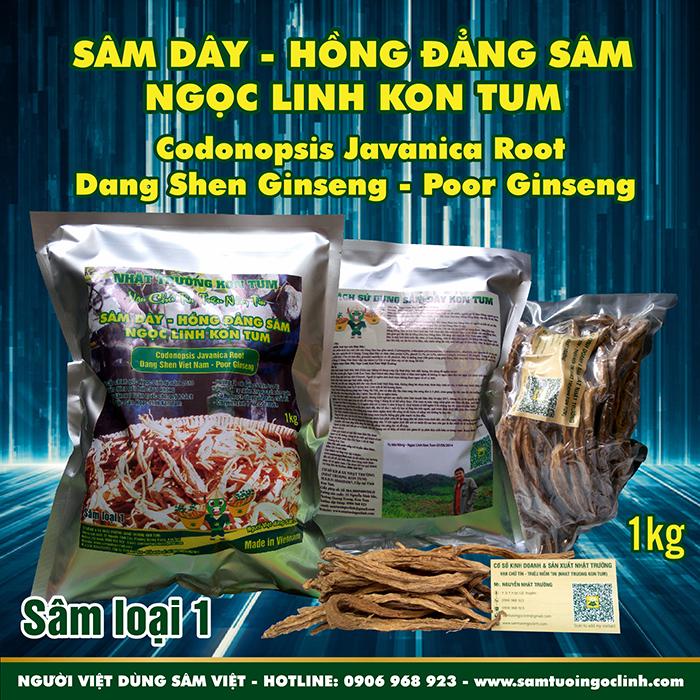 Sâm Dây (Hồng Đẳng Sâm) Kon Tum Ngọc Linh Nhật Trường loại 1 - Túi 1 kg
