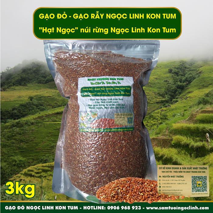 Gạo Đỏ, Gạo Rẫy Ngọc Linh Kon Tum Bắc Tây Nguyên - Túi 3 kg