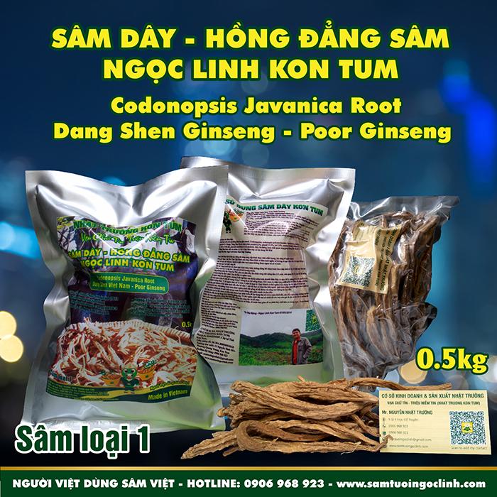 Sâm Dây (Hồng Đẳng Sâm) Kon Tum Ngọc Linh Nhật Trường loại 1 - Túi 0.5 kg
