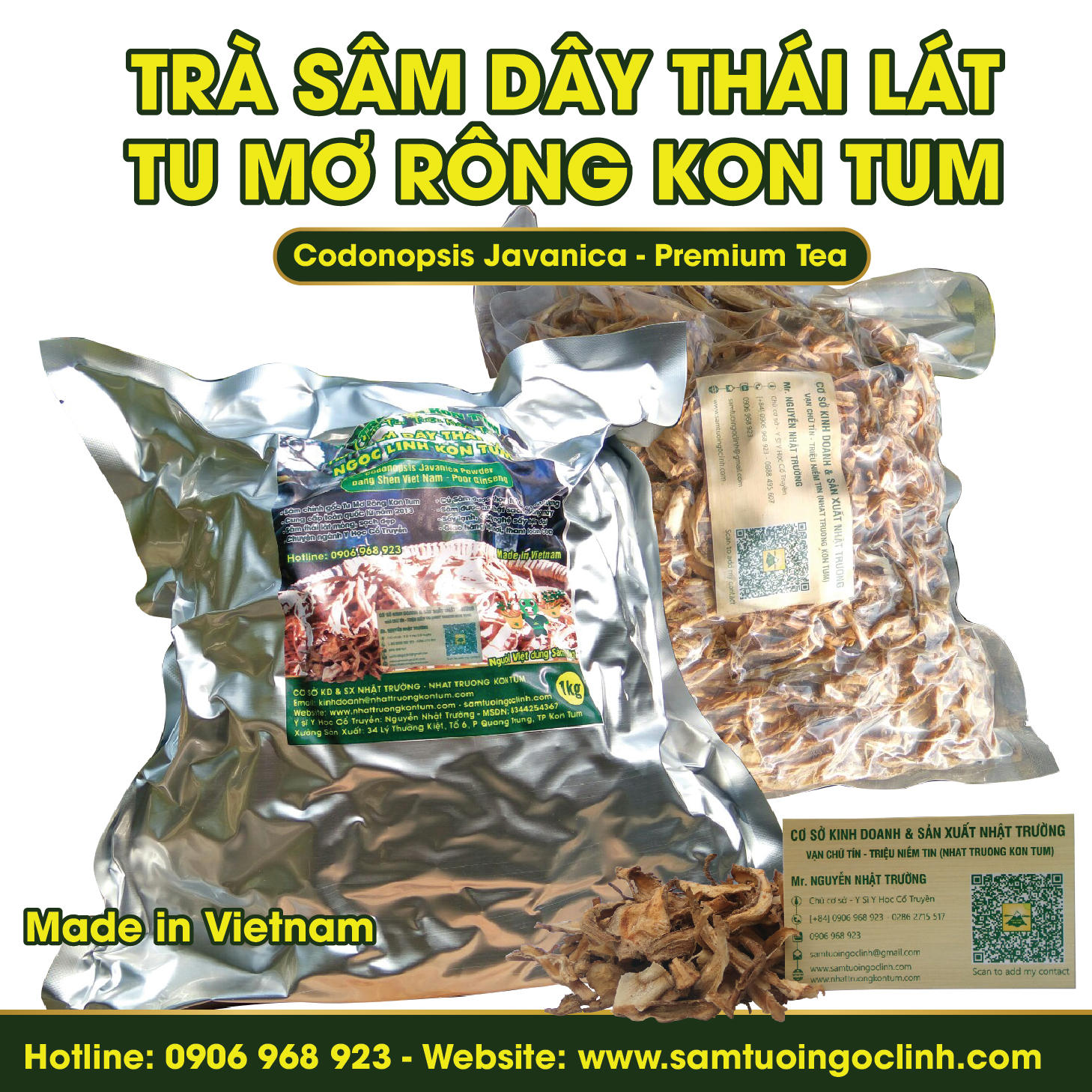 Trà Sâm Dây Ngọc Linh Kon Tum Nhật Trường - Túi 0.5 kg